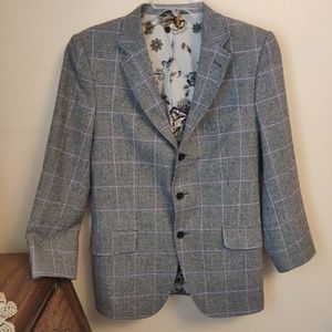Men's Etro Italian Wool Checkered Purple Jacket 42